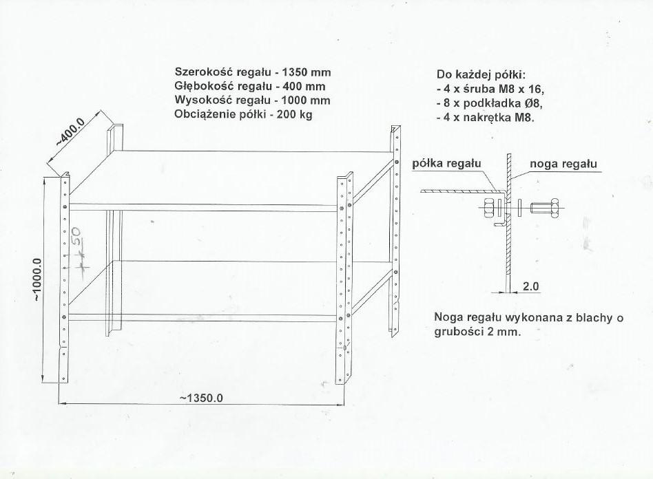 regał półkowy 1 metrowy głębokość 40cm